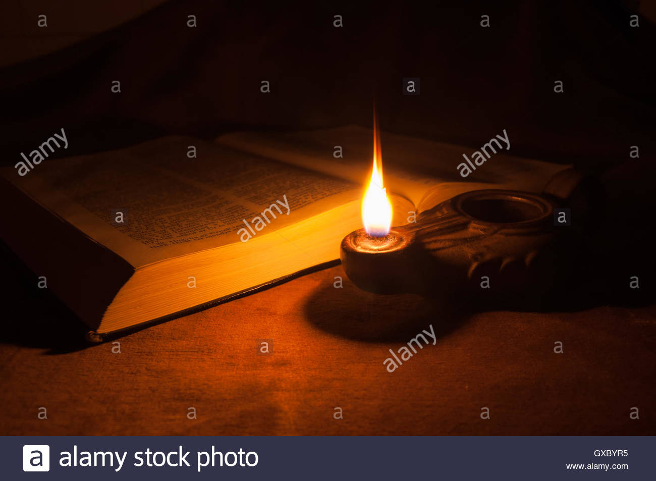 Oil Lamp And Bible Stock Photo 119506553 Alamy