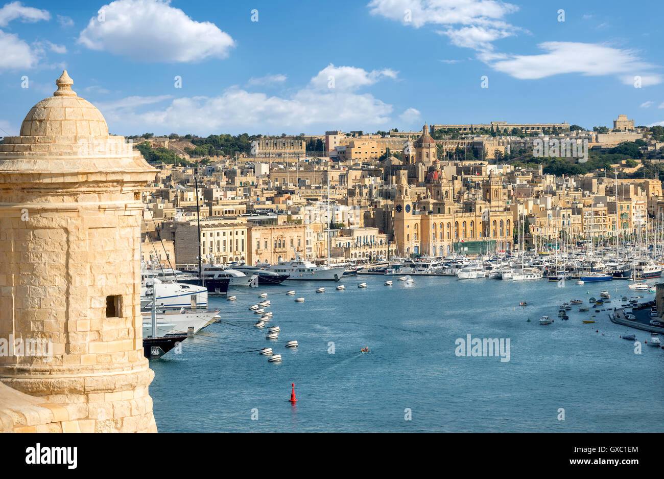 Sentry tower and view to Grand Harbour. Valletta, Malta - Stock Image