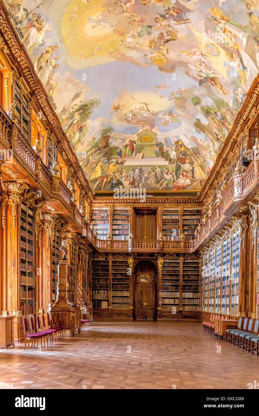 The Philosophical Hall Library in the Strahov Monastery, a Unesco World Heritage Site, Prague, Czech Republic, Europe. - Stock Image