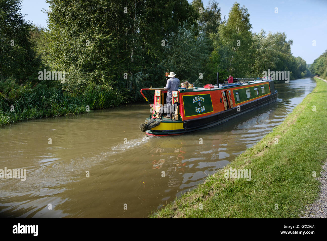Canal boat in Pooley Country Park Warwickshire - Stock Image