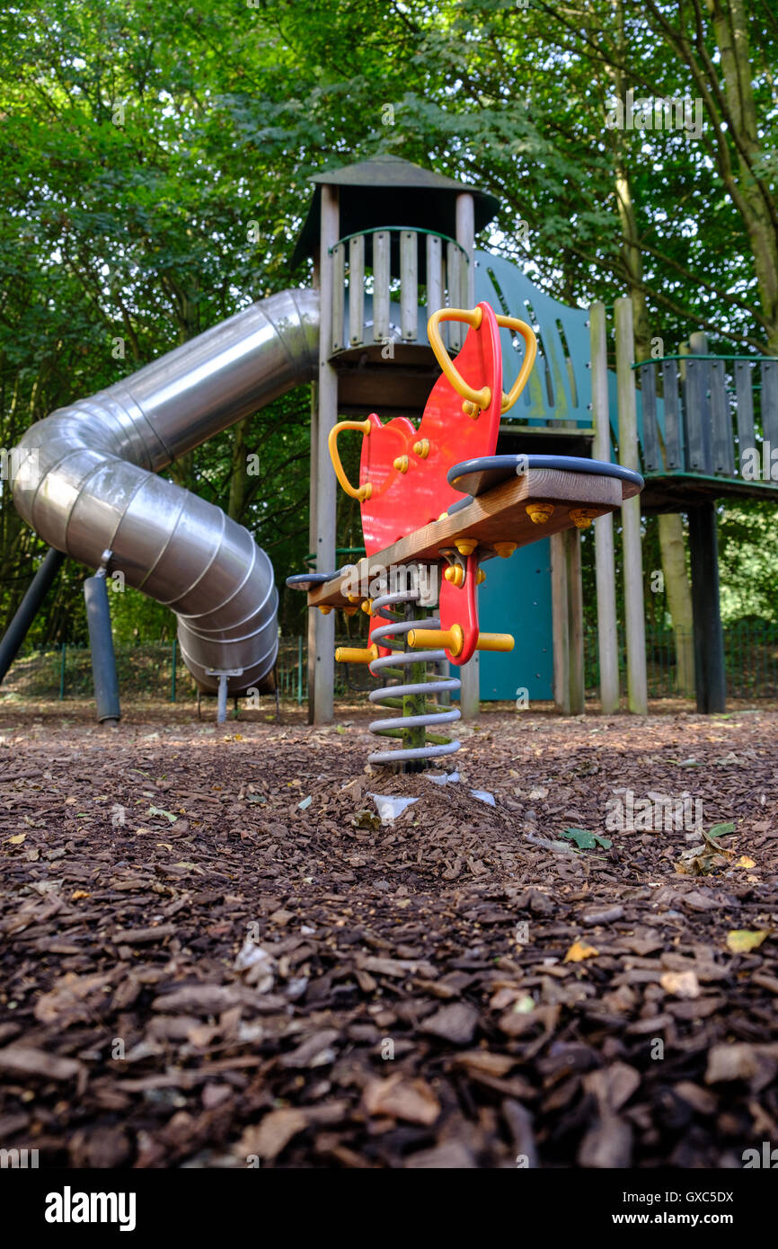 Deserted playground at Pooley Country Park, Warwickshire - Stock Image