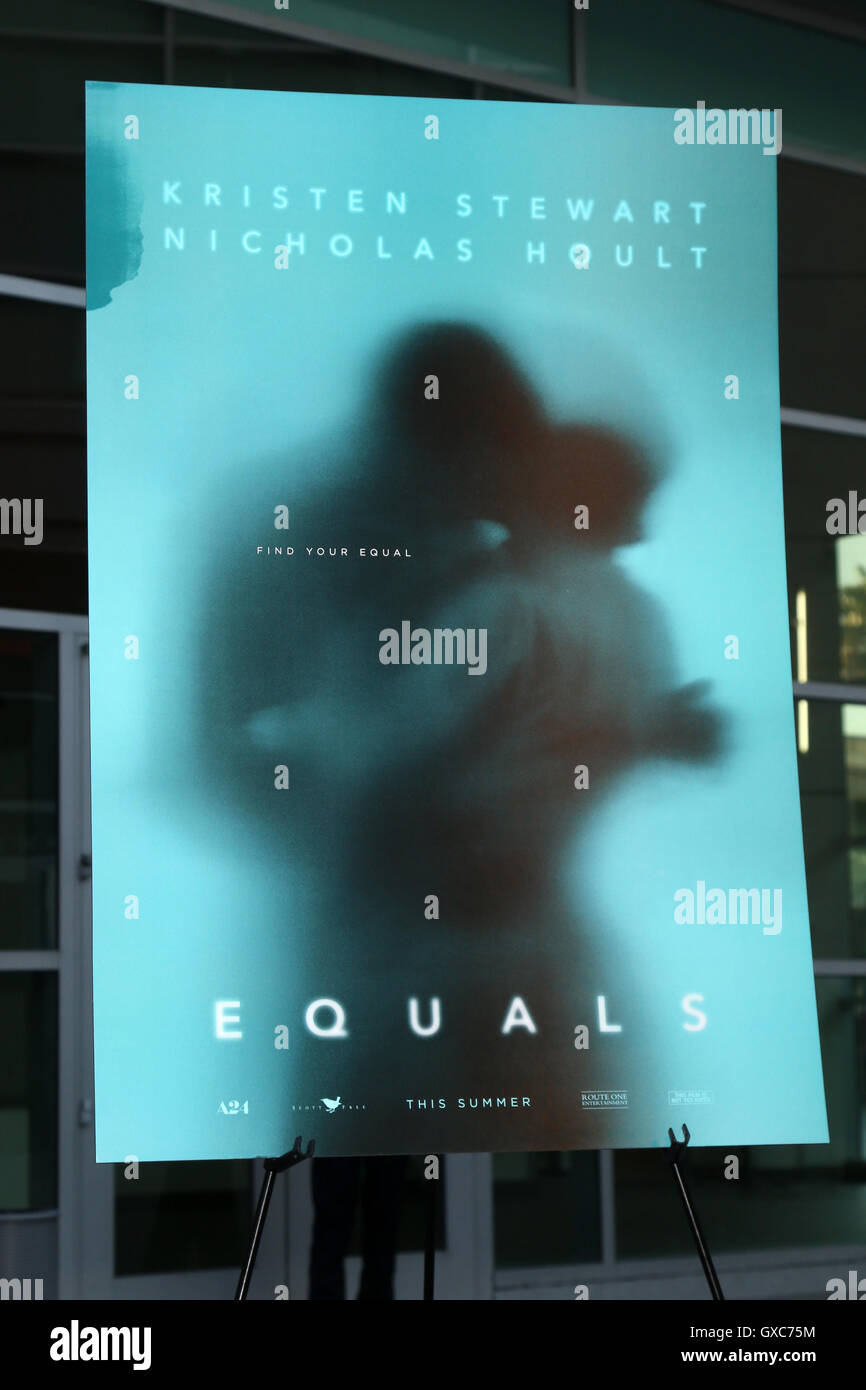 Premiere of A24's 'Equals' at ArcLight Hollywood - Arrivals  Featuring: Equals Poster Where: Los Angeles, California, Stock Photo
