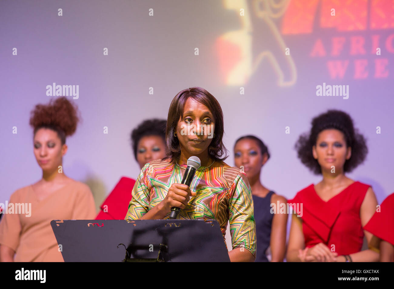 Dolepo Osinbajo, wife of the Nigerian vice president, speaks at the African Fashion Week London. - Stock Image