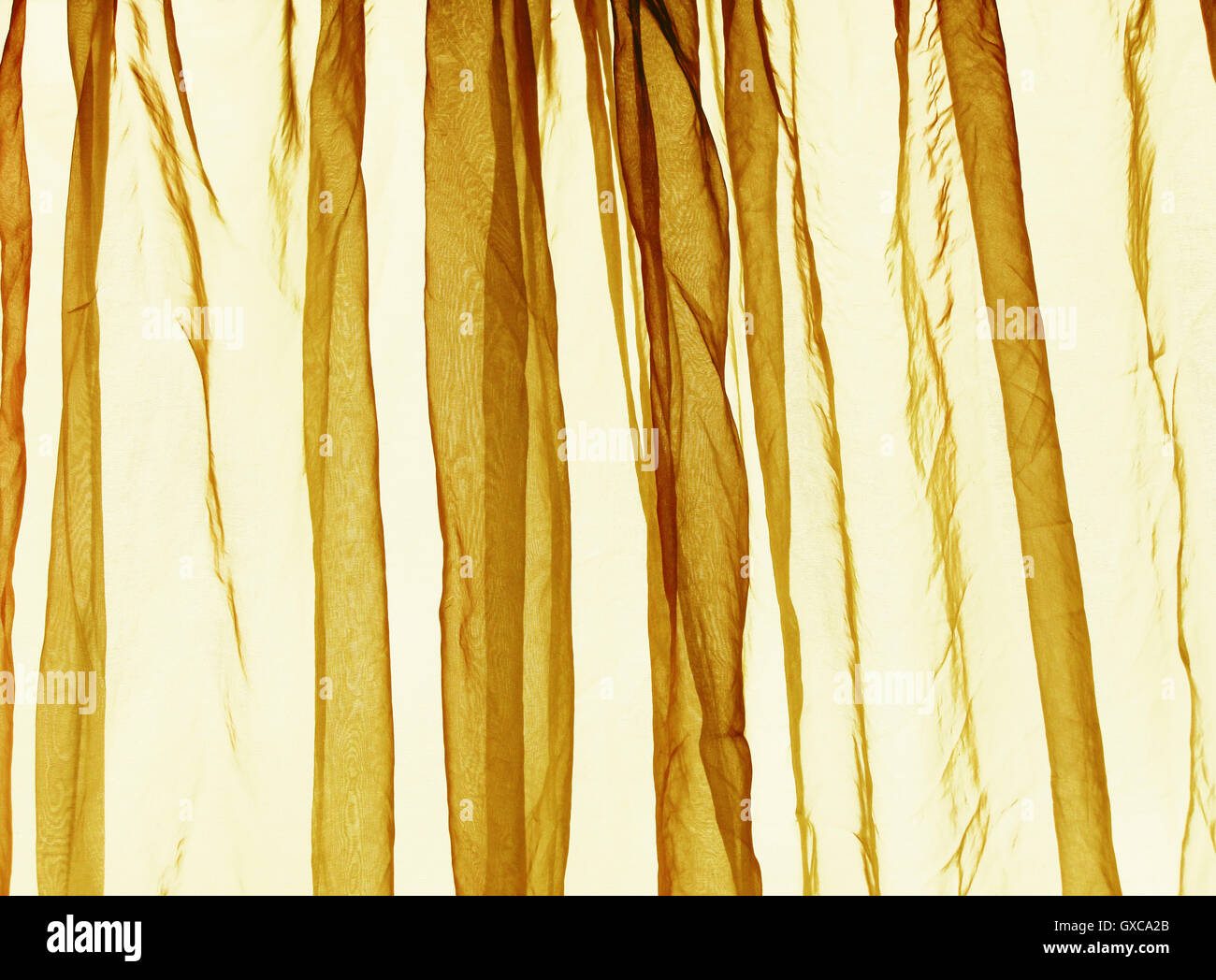 Voile curtain background yellow - Stock Image