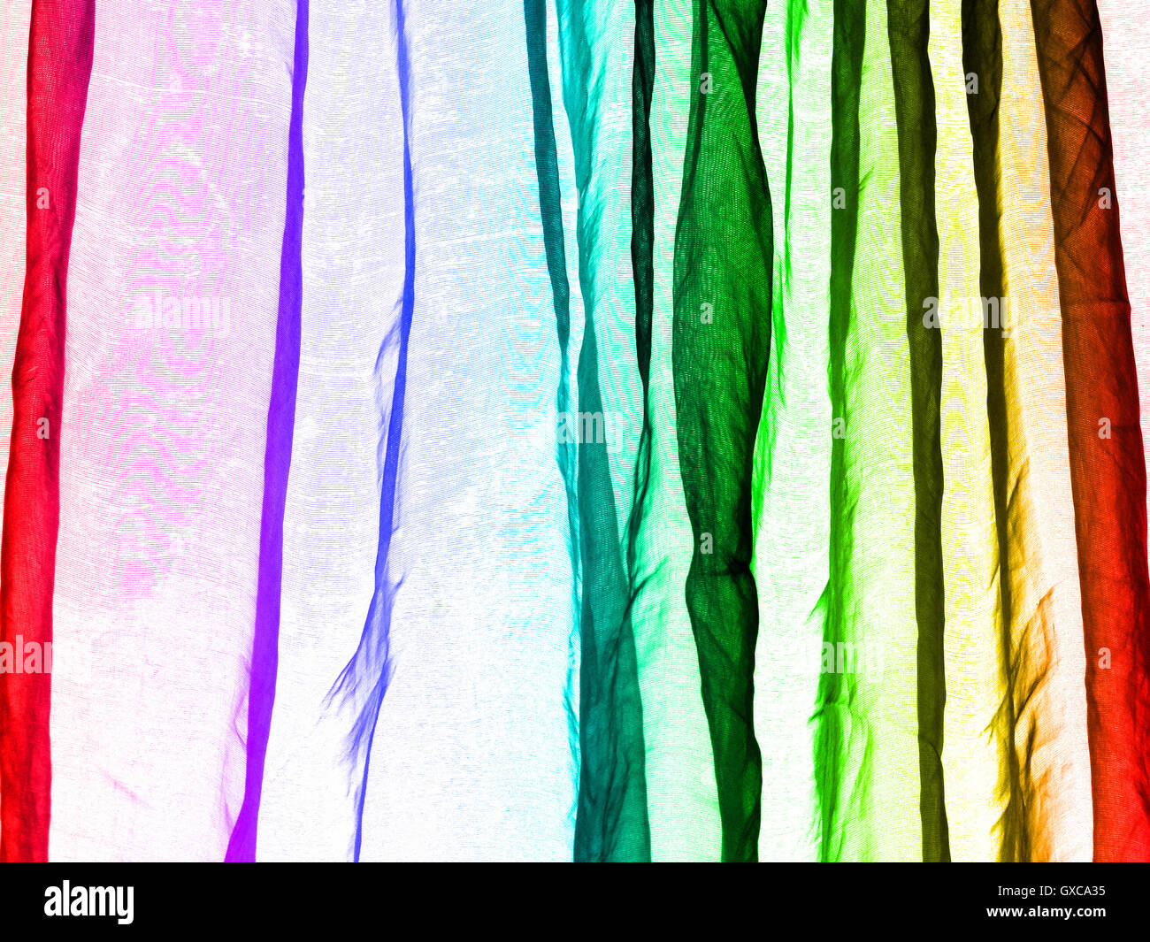 Voile curtain background rainbow colors - Stock Image