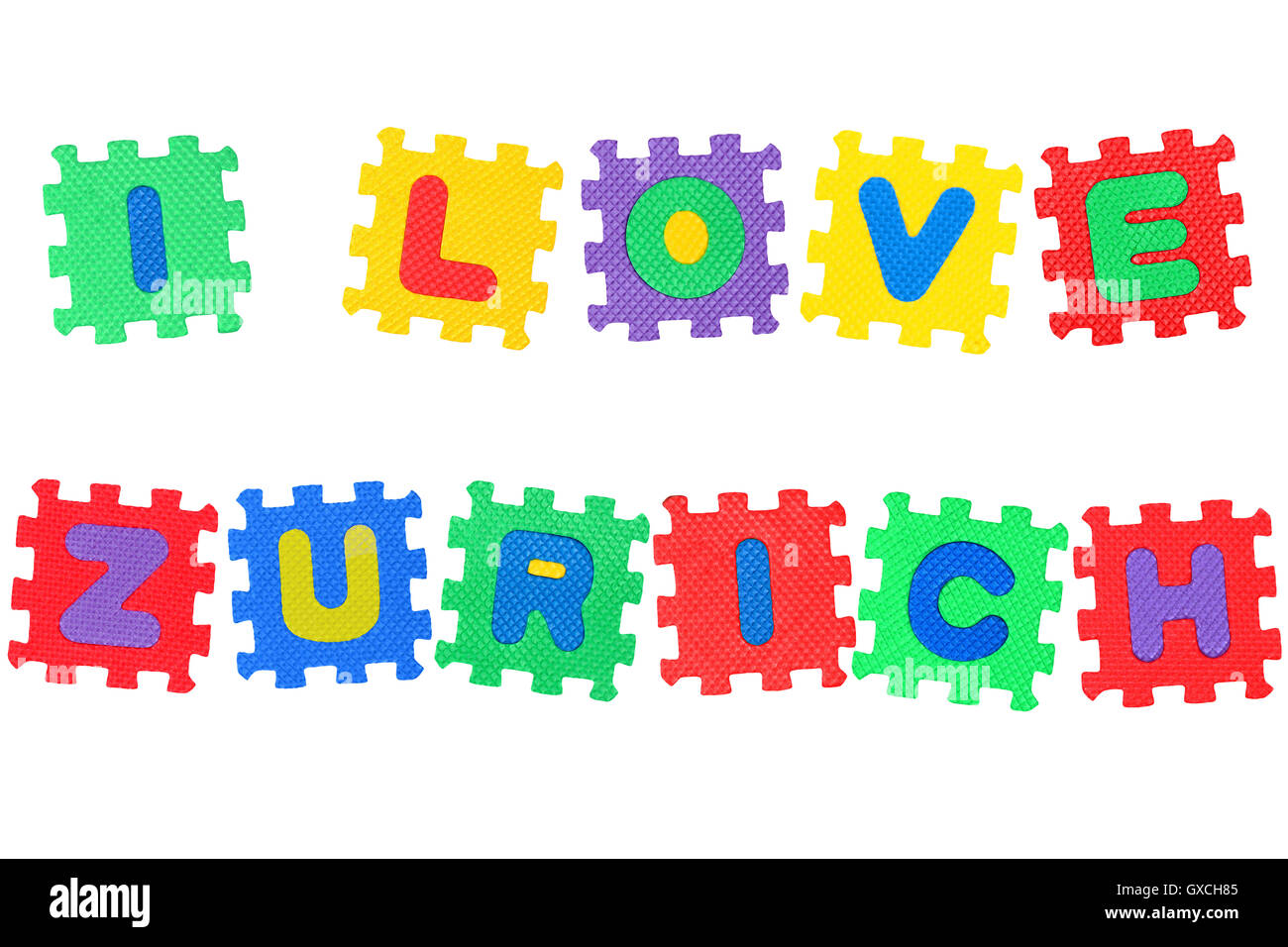 Message I Love Zurich, from letters puzzle, isolated on white background. - Stock Image