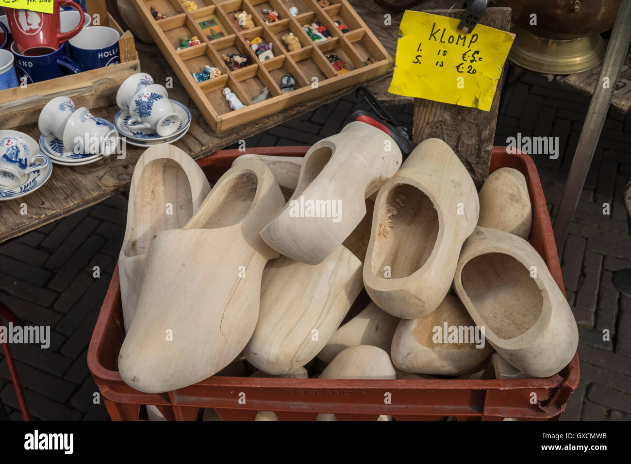 Wooden clog footwear for sale at Waterloopleinmarkt flea market, Amsterdam, Netherlands - Stock Image