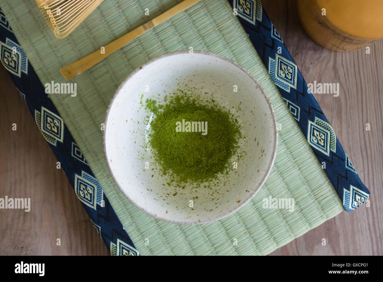 Japanese Matcha green tea powder in a chawan or traditional ceramic bowl shallow focus - Stock Image