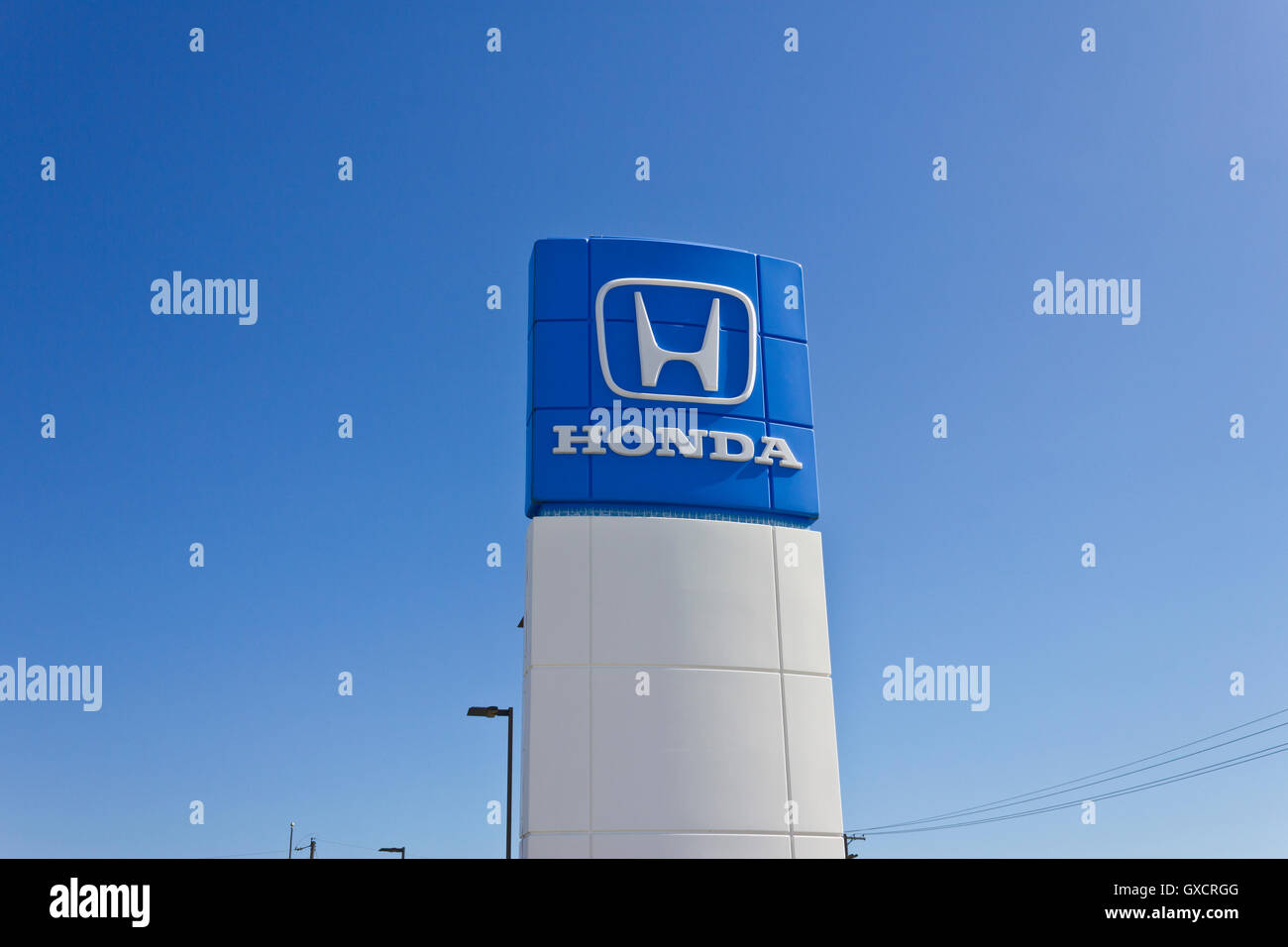 Indianapolis - Circa June 2016: Honda Motor Co. Logo and Sign. Honda Manufacturers Among the Most Reliable Cars - Stock Image