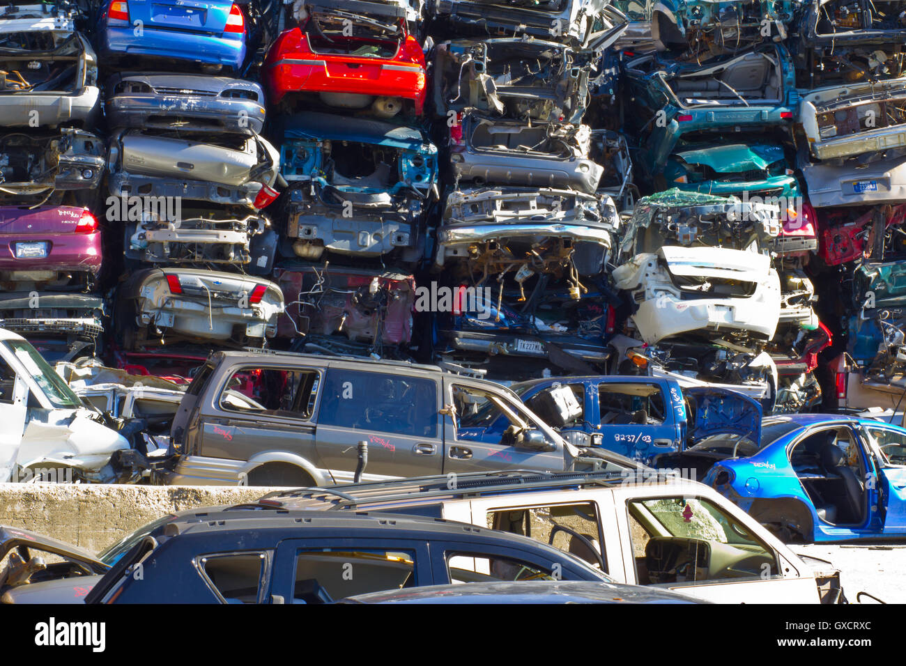 Indianapolis - Circa November 2015 - A Pile of Stacked Junk Cars - Discarded Junk Cars Piled Up After Crushing II - Stock Image