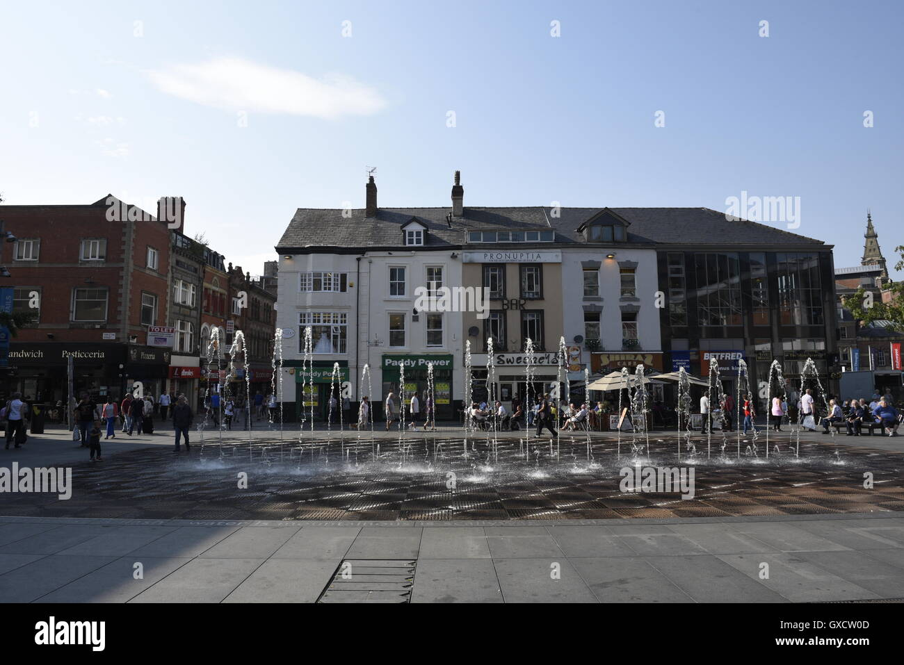 Williamson Square is in the city centre of Liverpool, England. It was initially laid out as a residential square Stock Photo