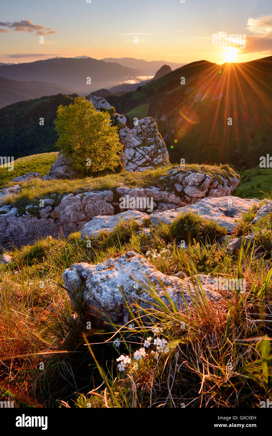 Landscape with rocks at sunset, Bolshoy Thach (Big Thach) Nature Park, Caucasian Mountains, Republic of Adygea, - Stock Image
