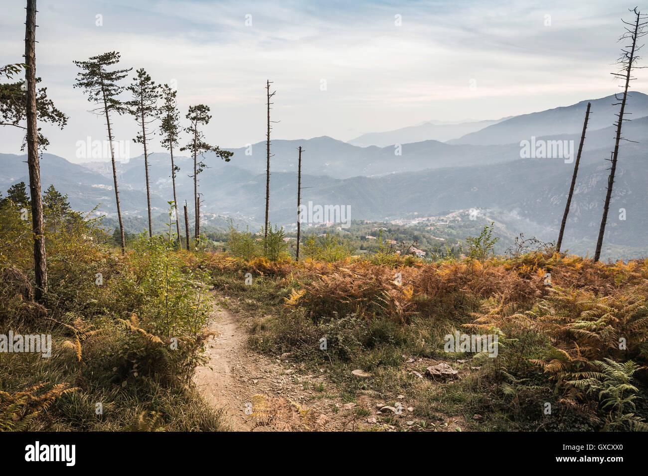 Elevated view of mountain range, Finale Ligure, Savona, Italy - Stock Image