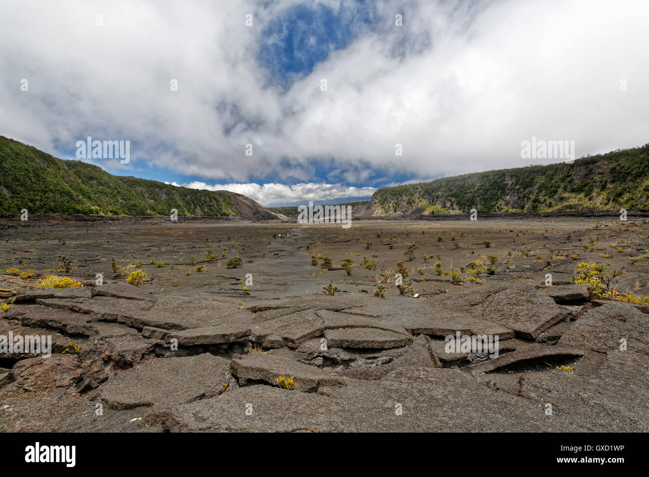 Kilauea Crater in Hawaii National Park shot midday with no people within the image - Stock Image