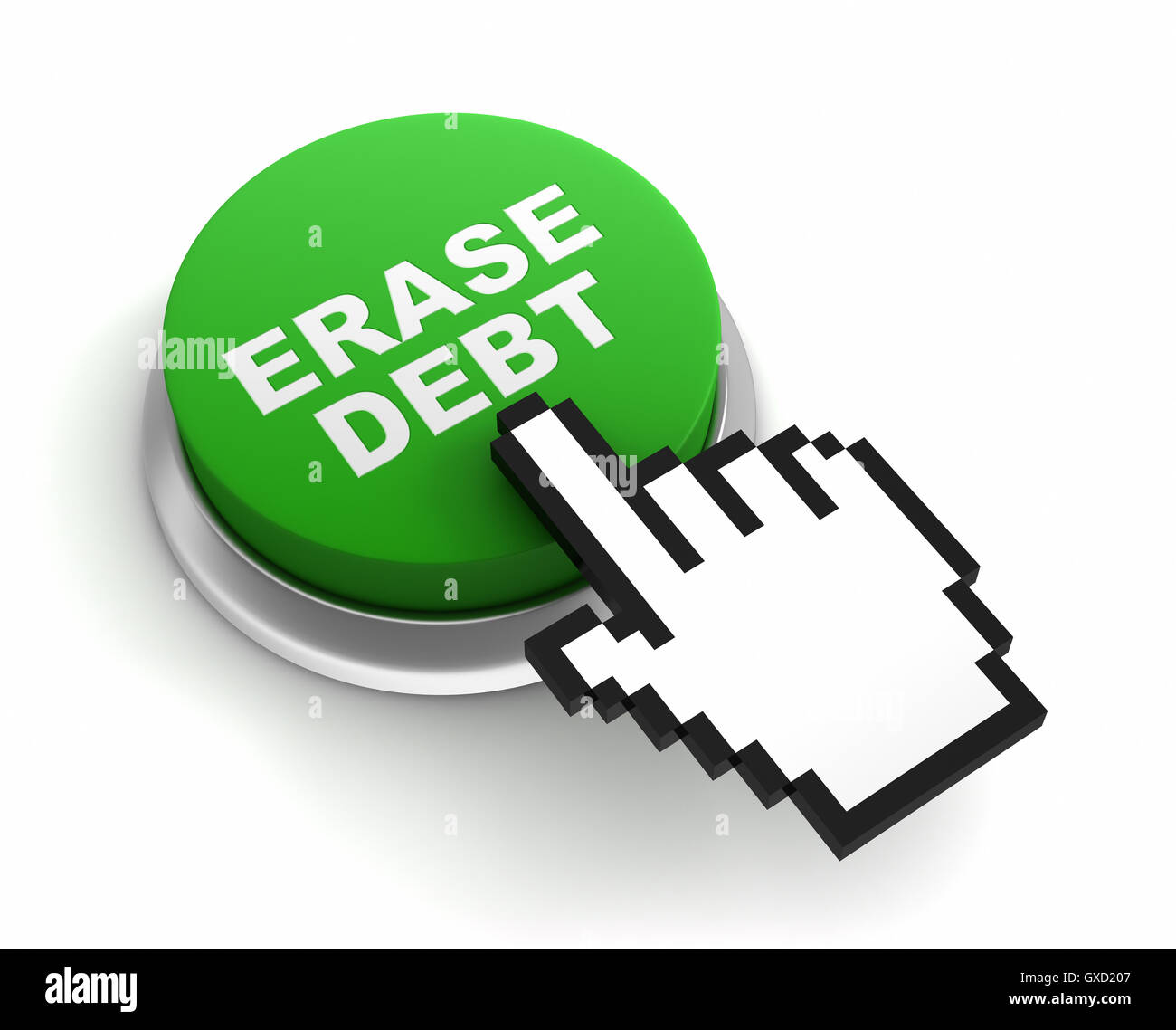 erase debt button concept  3d illustration - Stock Image