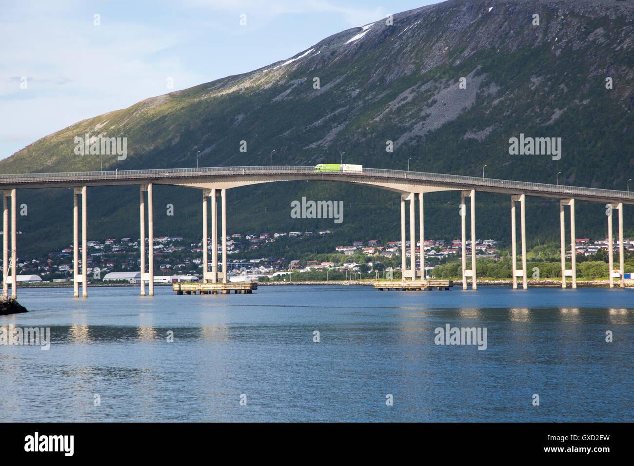 Tromso Bridge, cantilever road bridge in the city of Tromso, Norway, - Stock Image