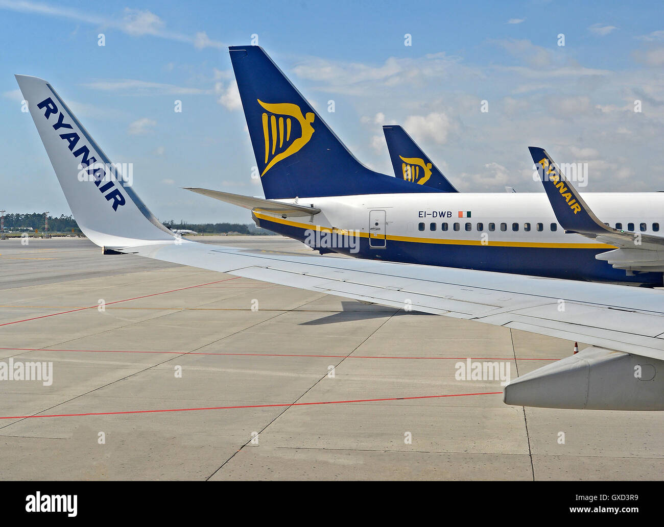 Boeing 737-300 of Ryanair airlines Porto Portugal - Stock Image
