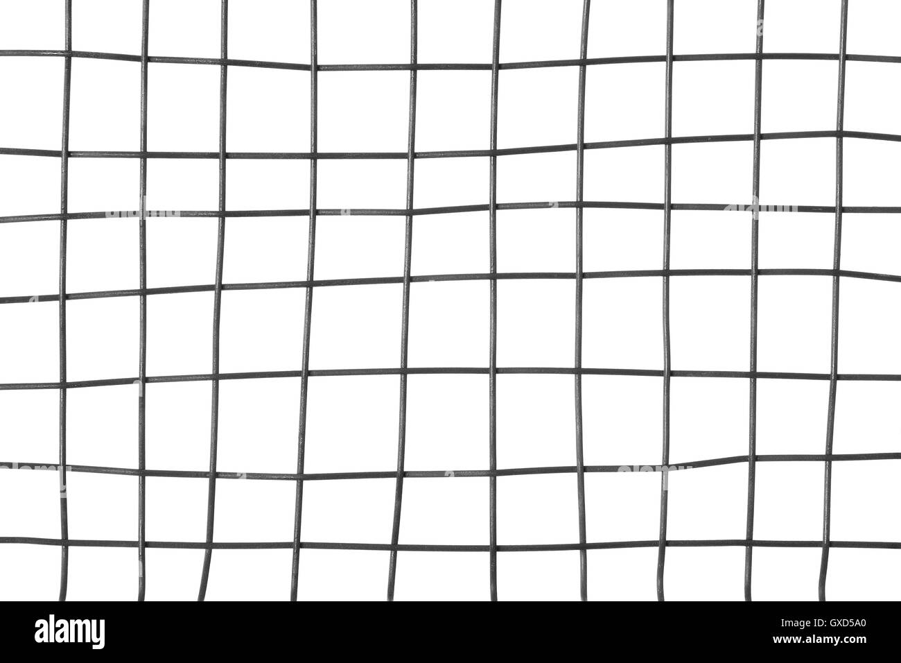 Metal grid on white background - Stock Image