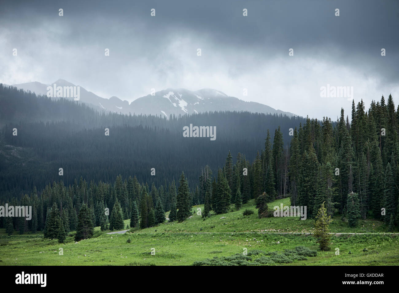 Storm clouds over mountain landscape, Crested Butte, Colorado, USA - Stock Image