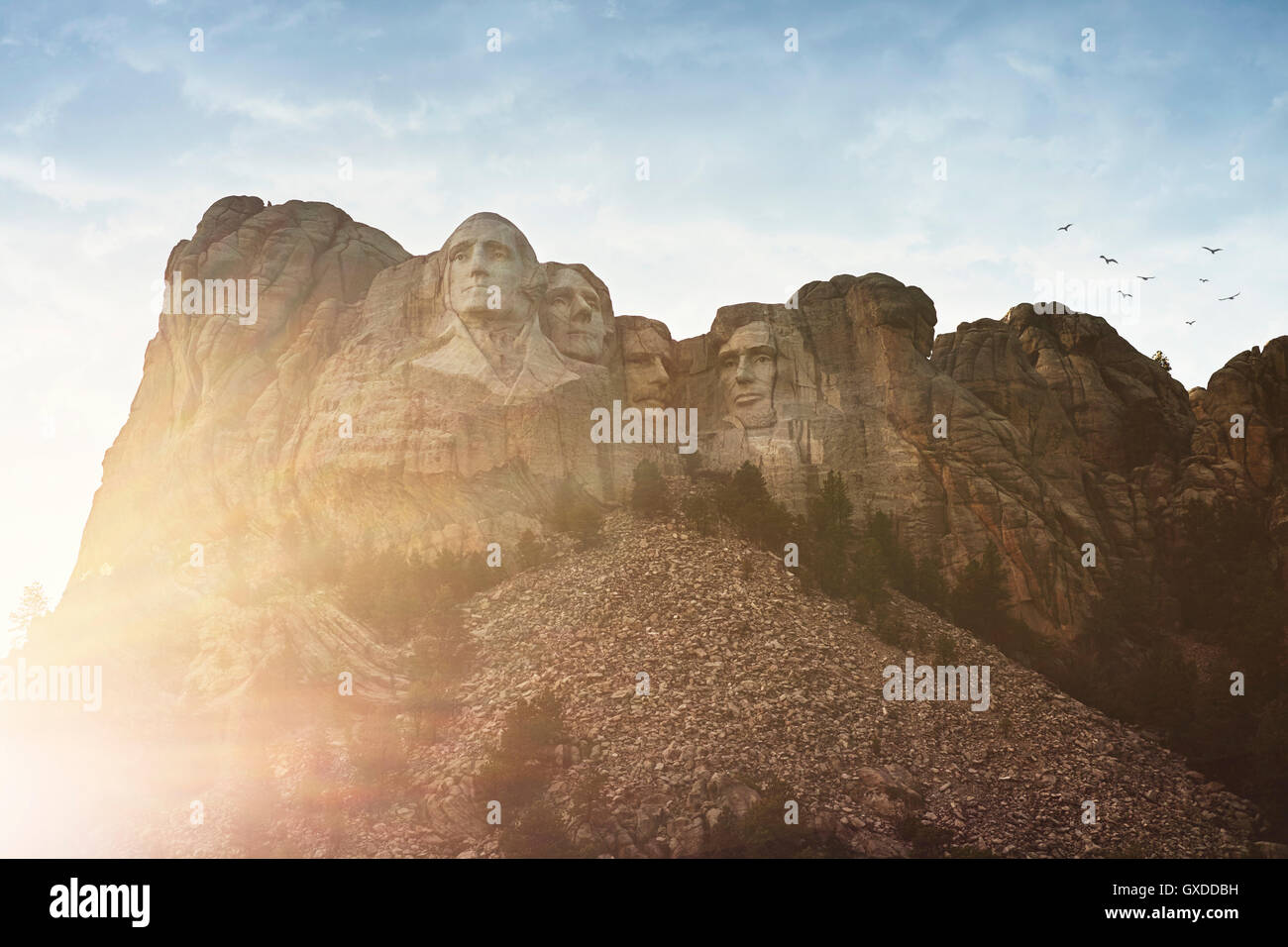 Sunlit view of Mount Rushmore, Keystone, South Dakota,  USA - Stock Image