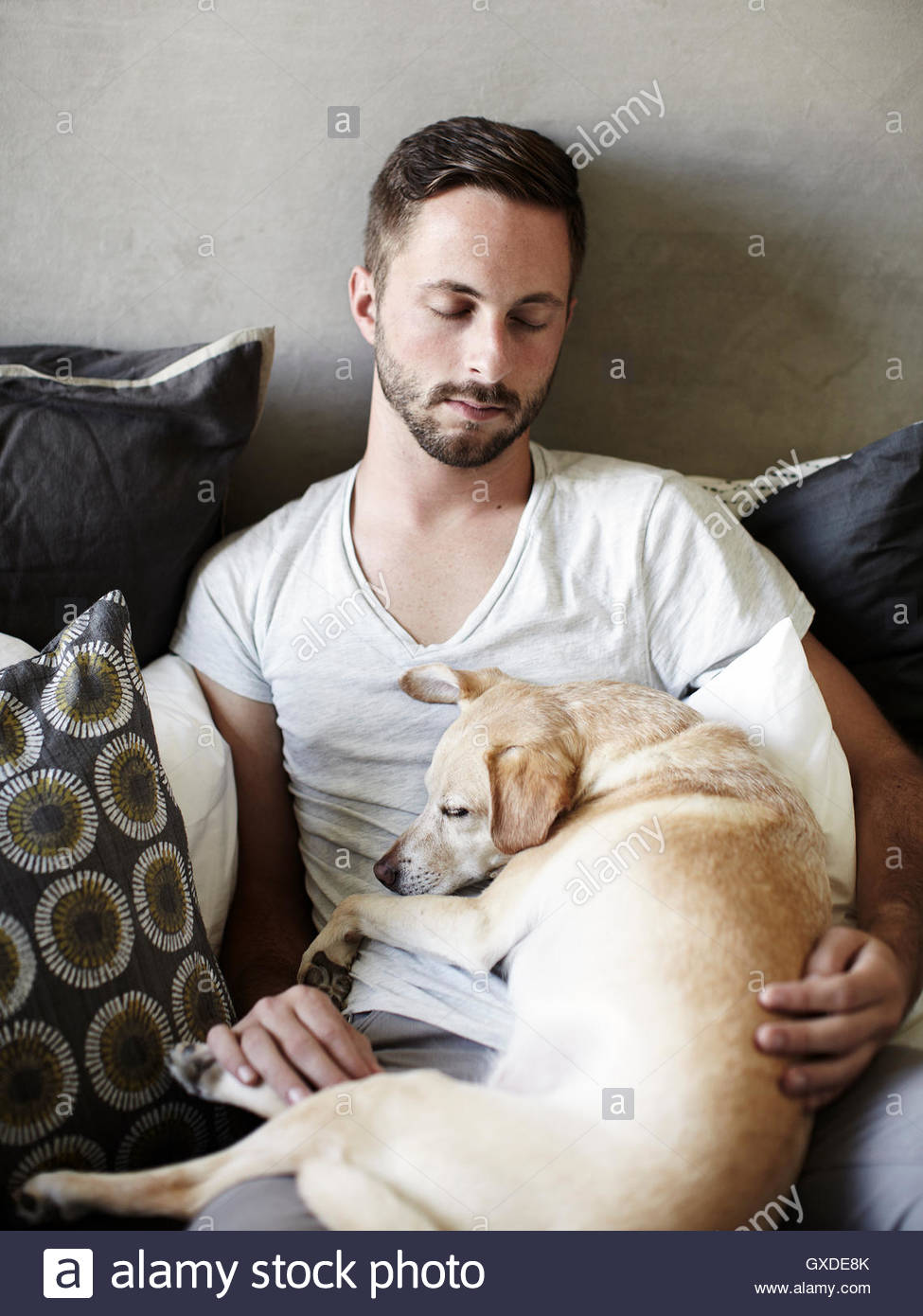 Young man and dog asleep on bed - Stock Image
