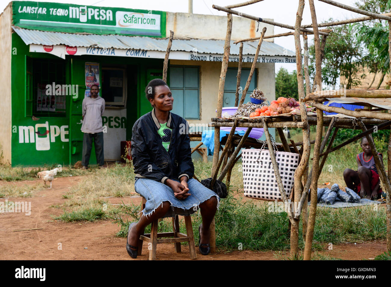 KENIA, County Siaya, village Kotanega, shop M-Pesa, of company Safari.com a joint venture of Vodafone and kenyan Stock Photo