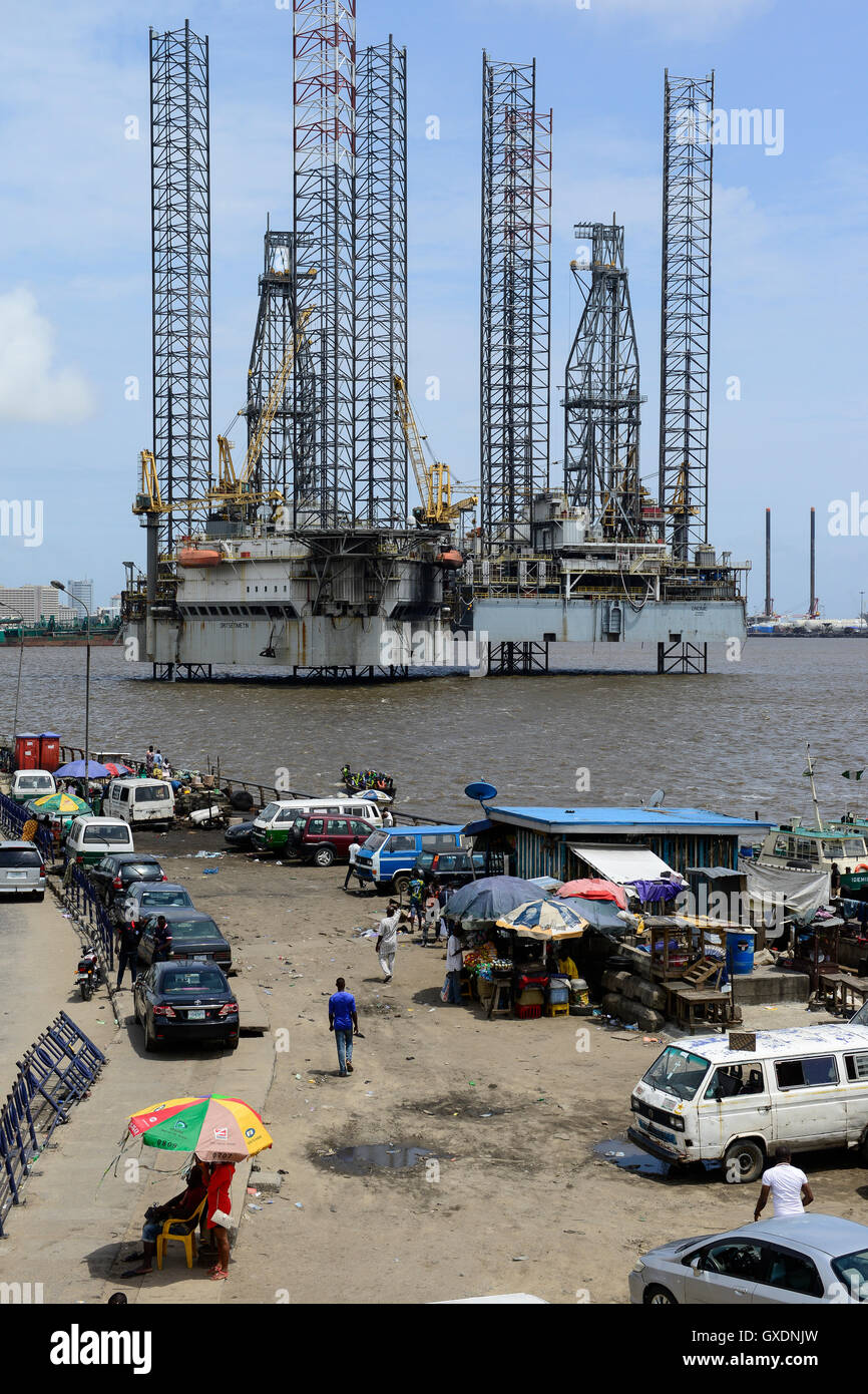 NIGERIA, City Lagos, two oil platform laying in Lagos port, Oritsetimeyin and Onome - Stock Image