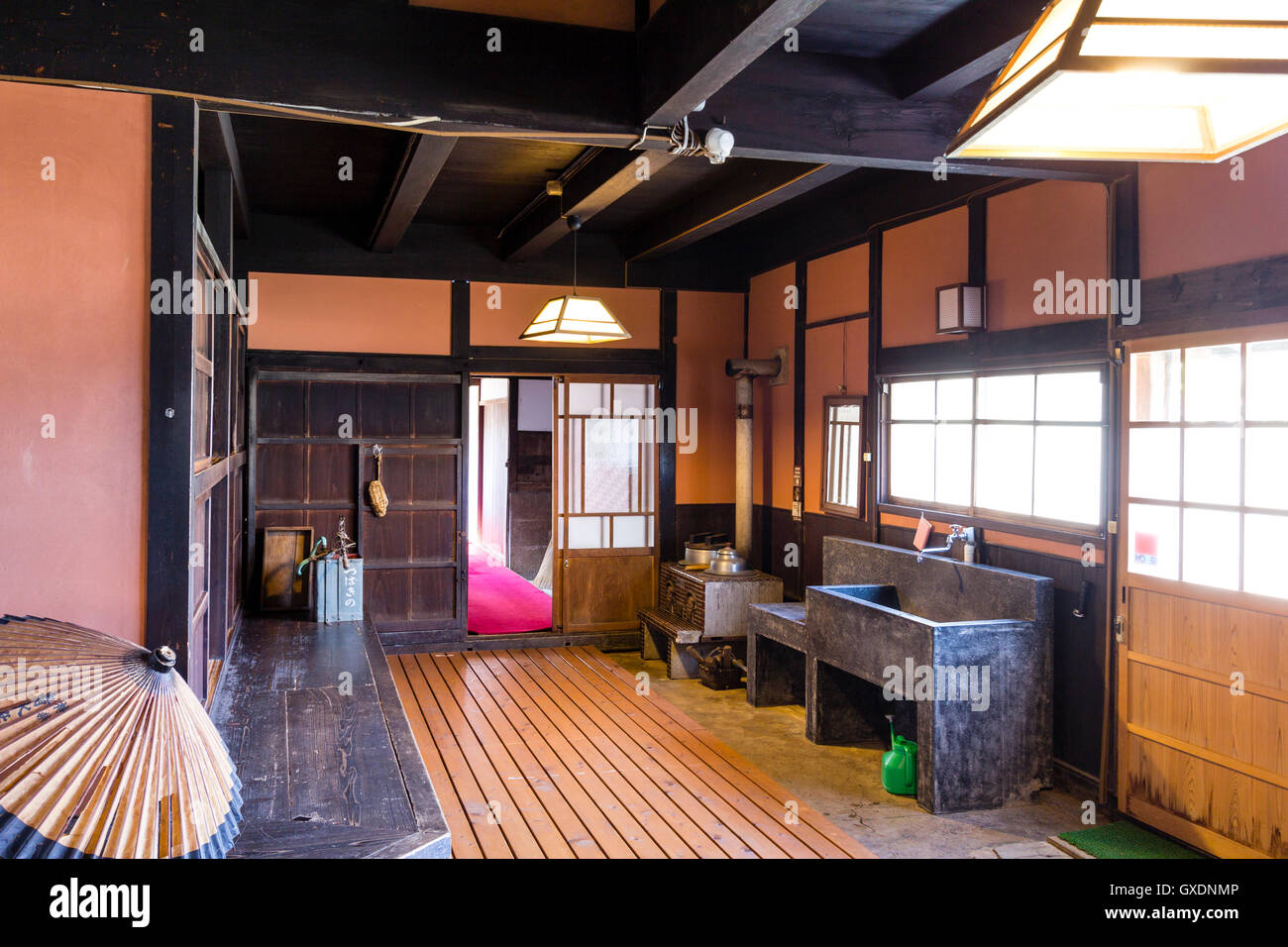 Japan, Izushi. Izushi Shiryokan museum, interior. Typical Merchant's house from the Meiji period. Ground floor - Stock Image