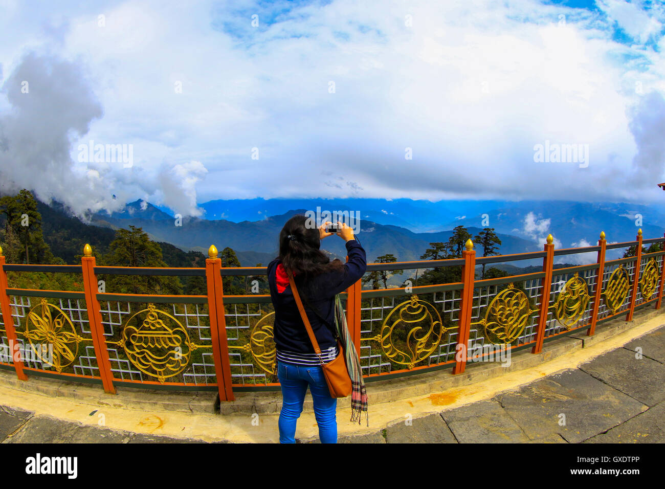 Mountain view from the Dochula Pass, Bhutan. - Stock Image