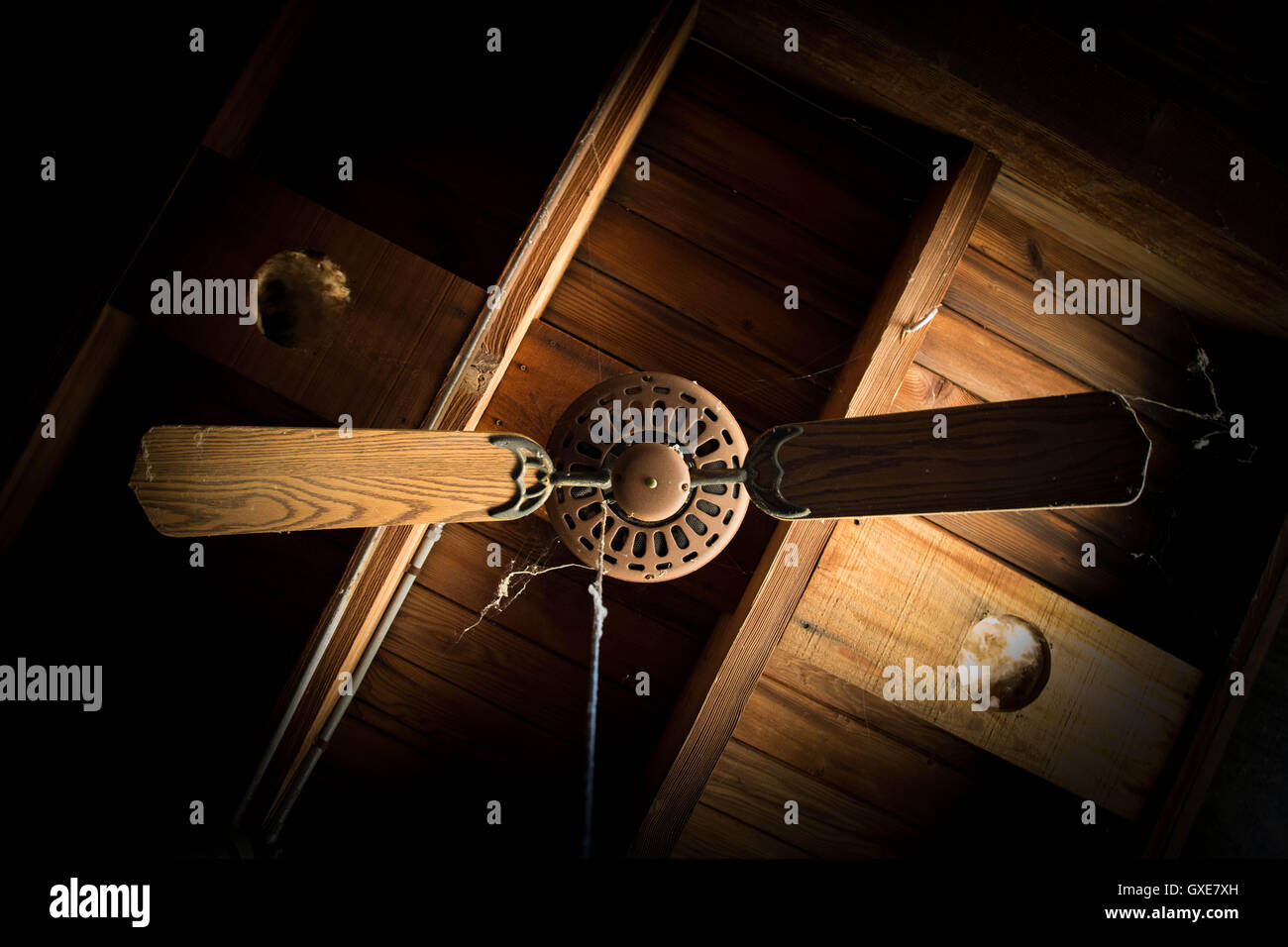 Ceiling fan history stock photos ceiling fan history stock images ceiling fan of an abandoned building stock image aloadofball Images