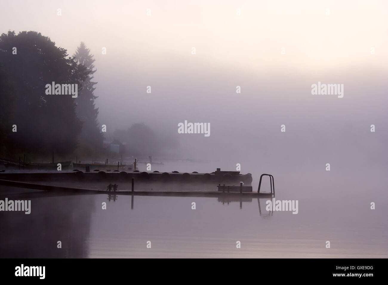 Morning nature scene (landscape): fog (mist) reflected in the water surface along with trees and moorage (quay, - Stock Image