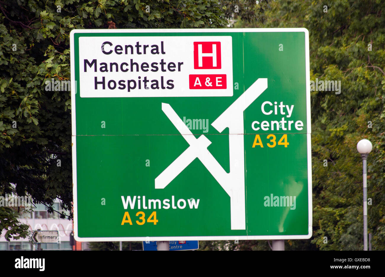 Central Manchester Hospital Road Sign - Stock Image