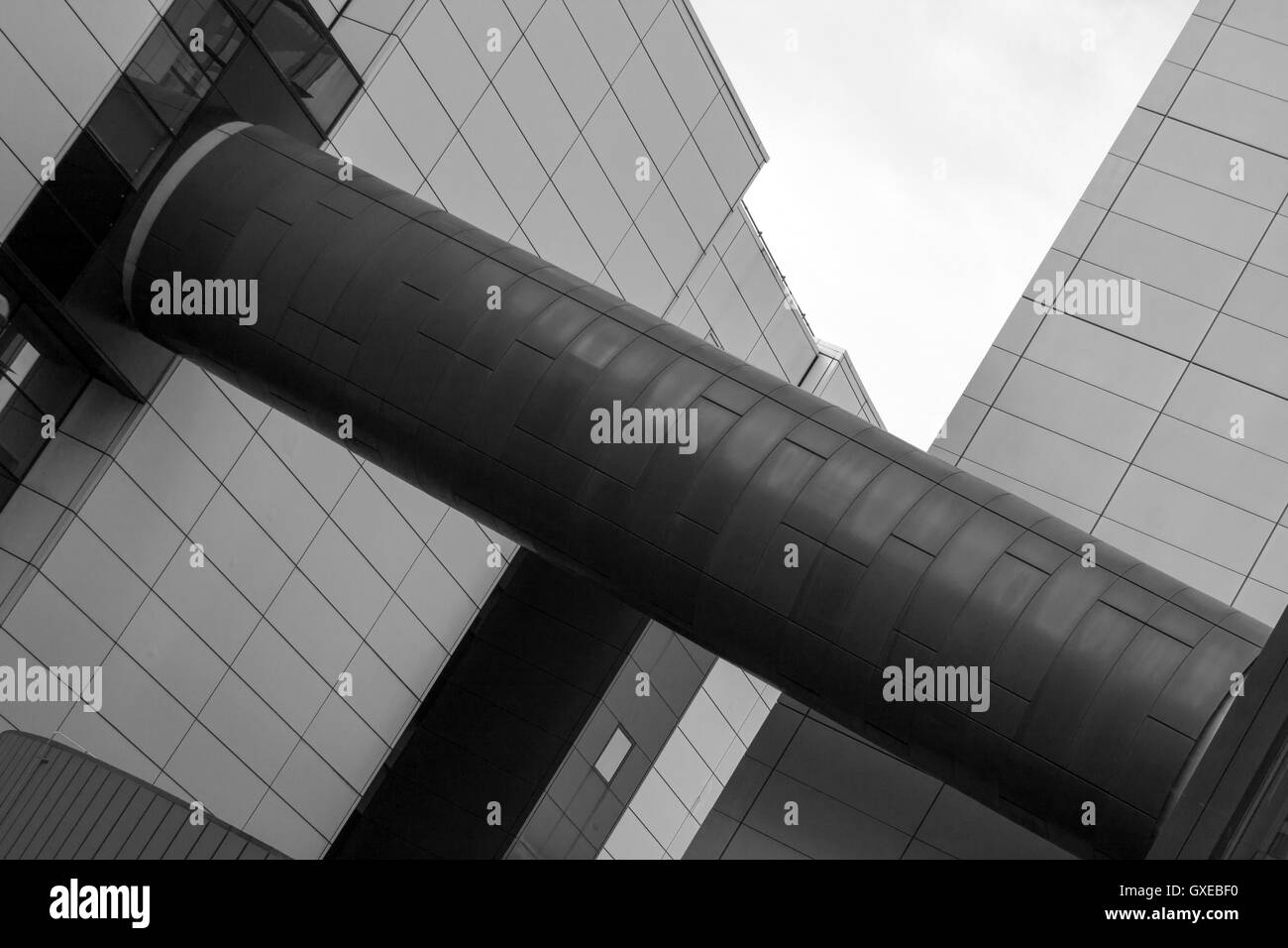 Black and White Abstract Photograph of a Modern Building - Stock Image