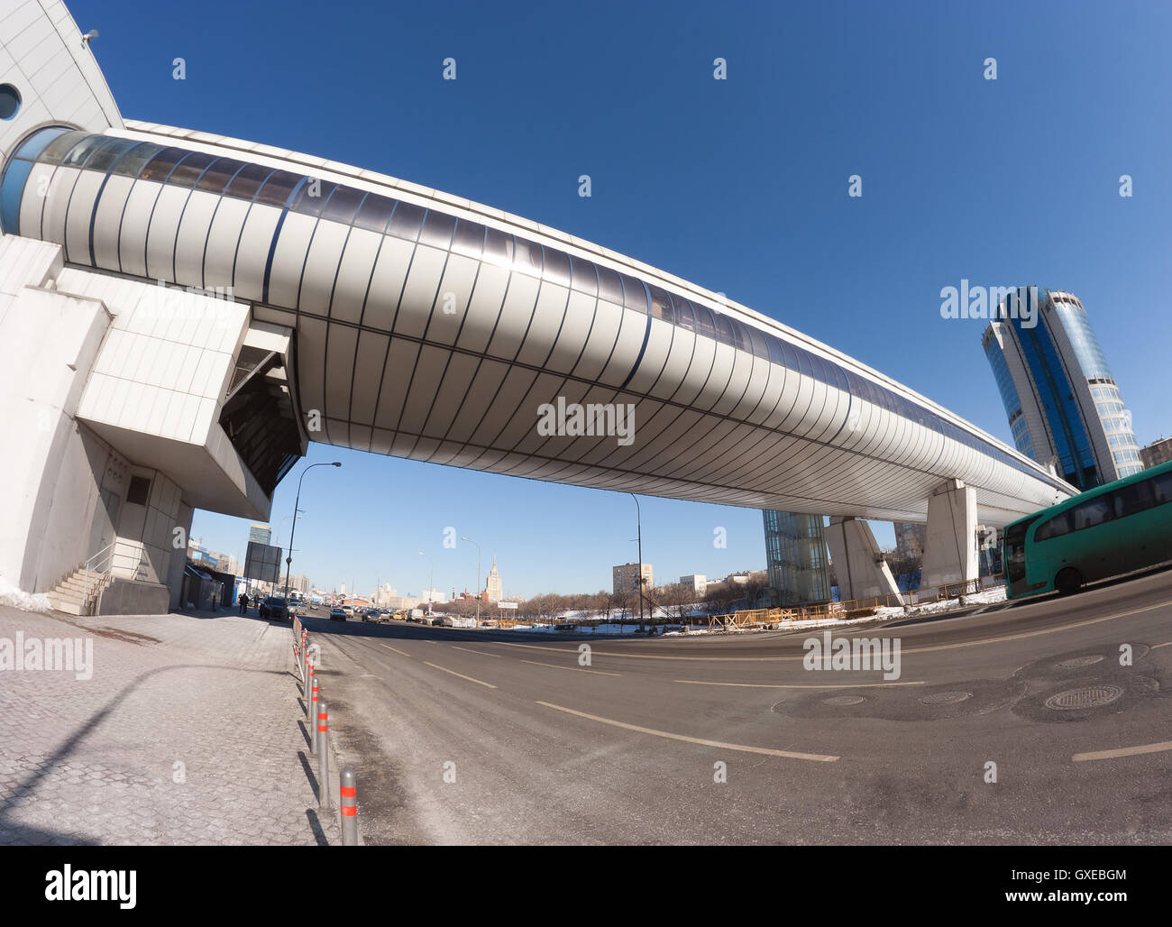 Bagration bridge in Moscow city, a russian architecture landmark that combains a foot-bridge (flyover or pedestrian - Stock Image