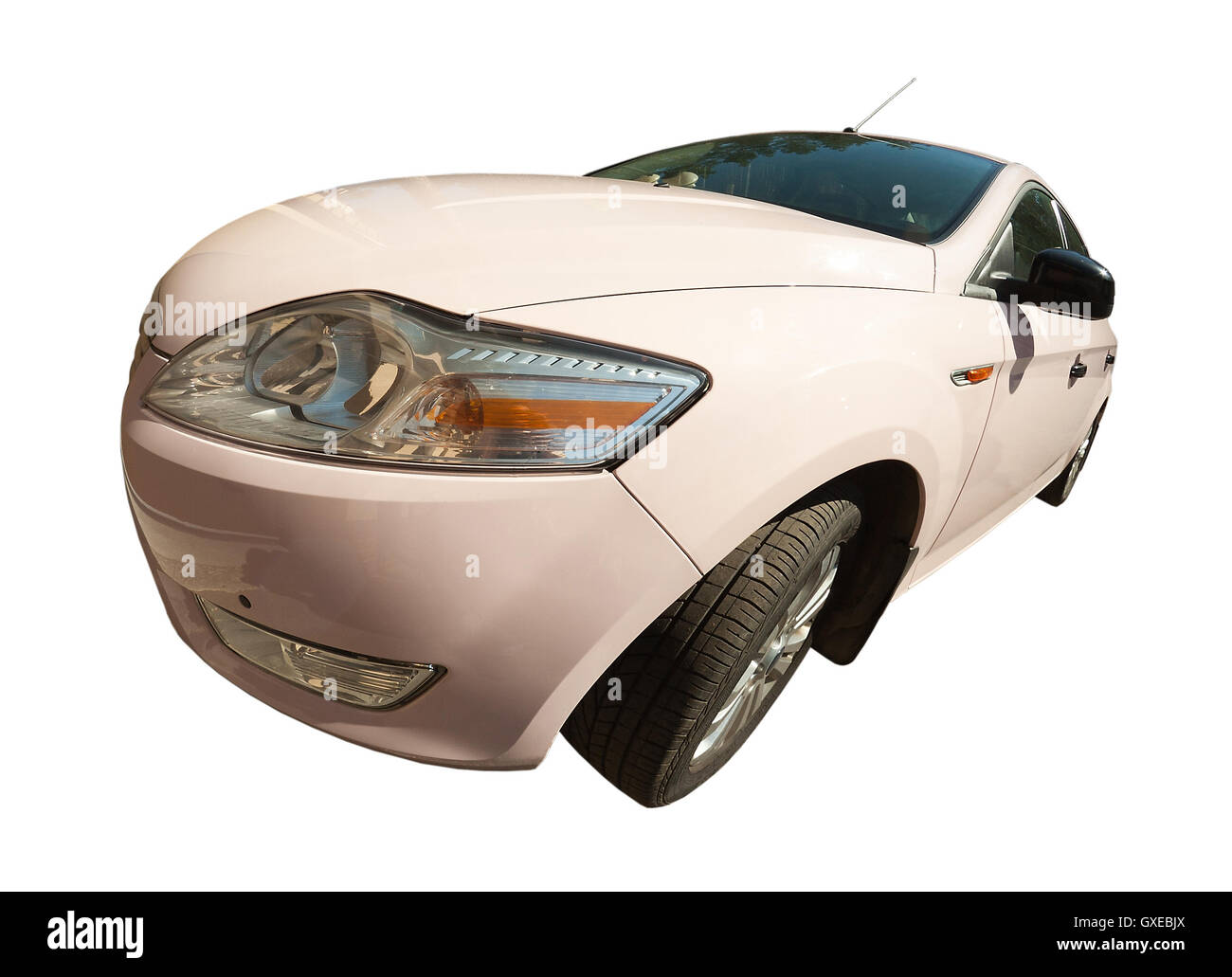 New pink car isolated over white background (backdrop). Front view. SHot with a fish-eye lens. - Stock Image