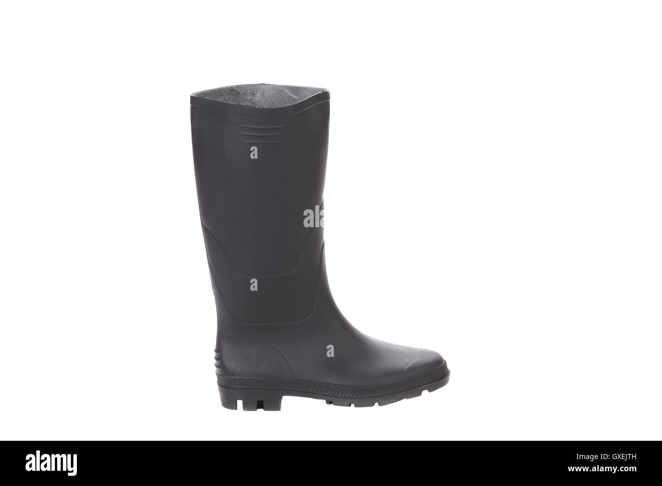 High rubber boot black color. Stock Photo