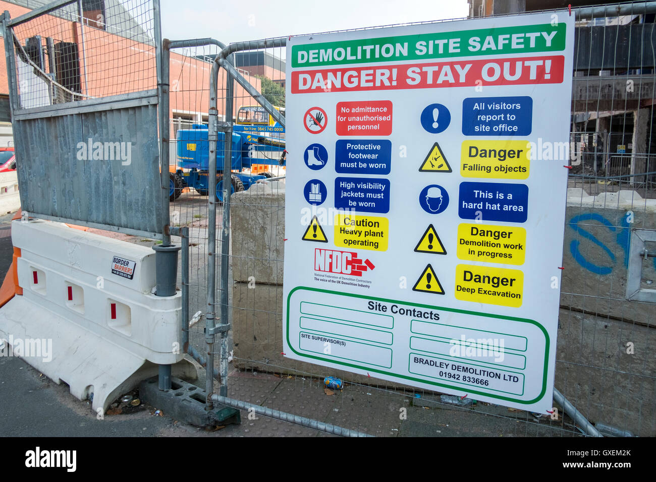 Construction site safety notice 'Danger, Stay Out!', Manchester, England, Uk - Stock Image
