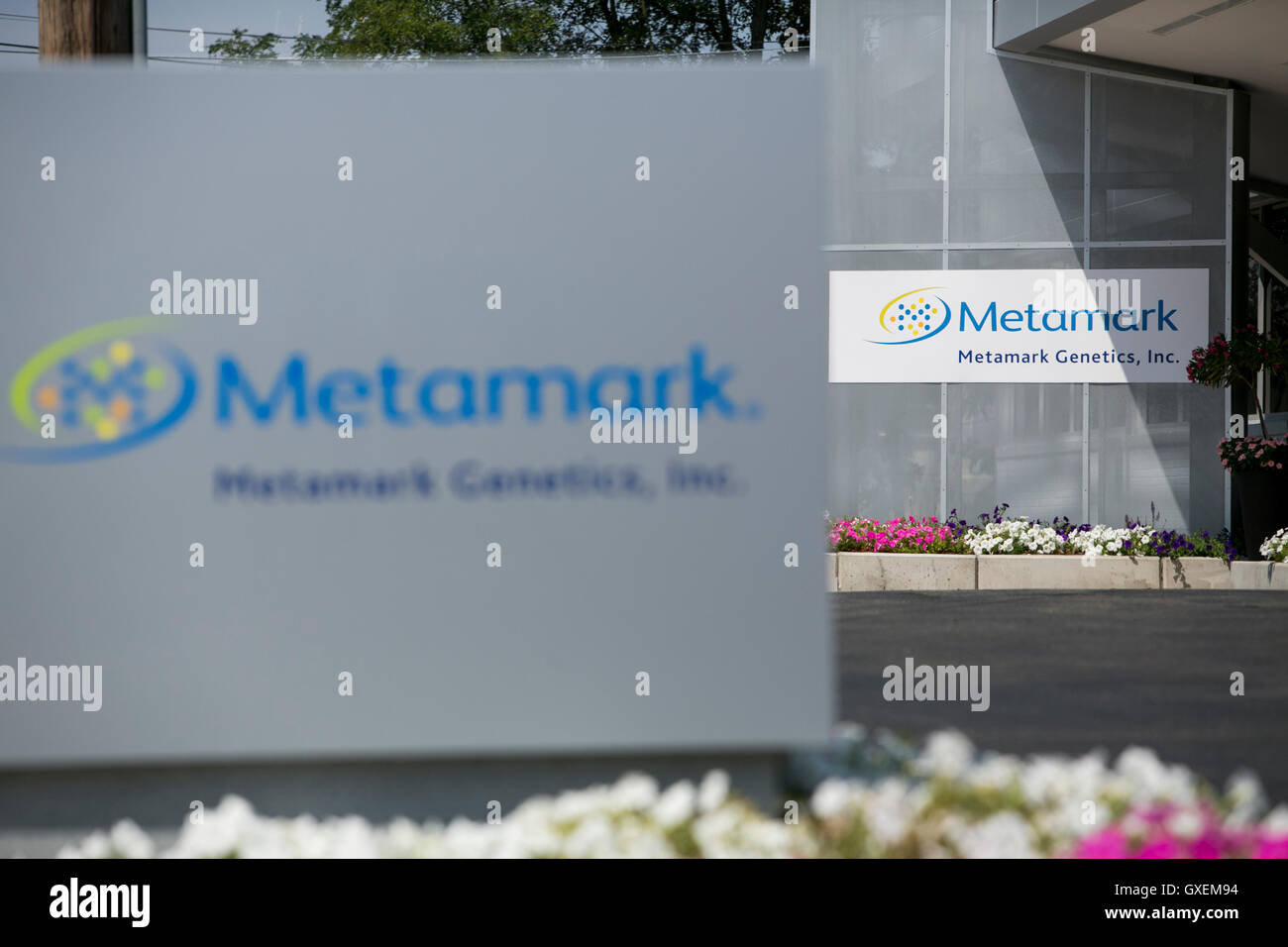 A logo sign outside of a facility occupied by Metamark Genetics in Waltham, Massachusetts on August 13, 2016. - Stock Image