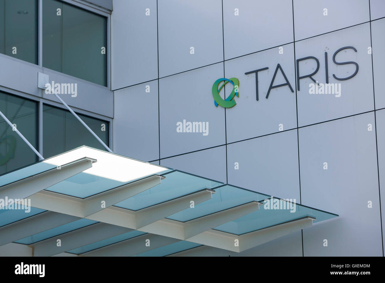 A logo sign outside of the headquarters of TARIS Biomedical in Lexington, Massachusetts on August 13, 2016. - Stock Image