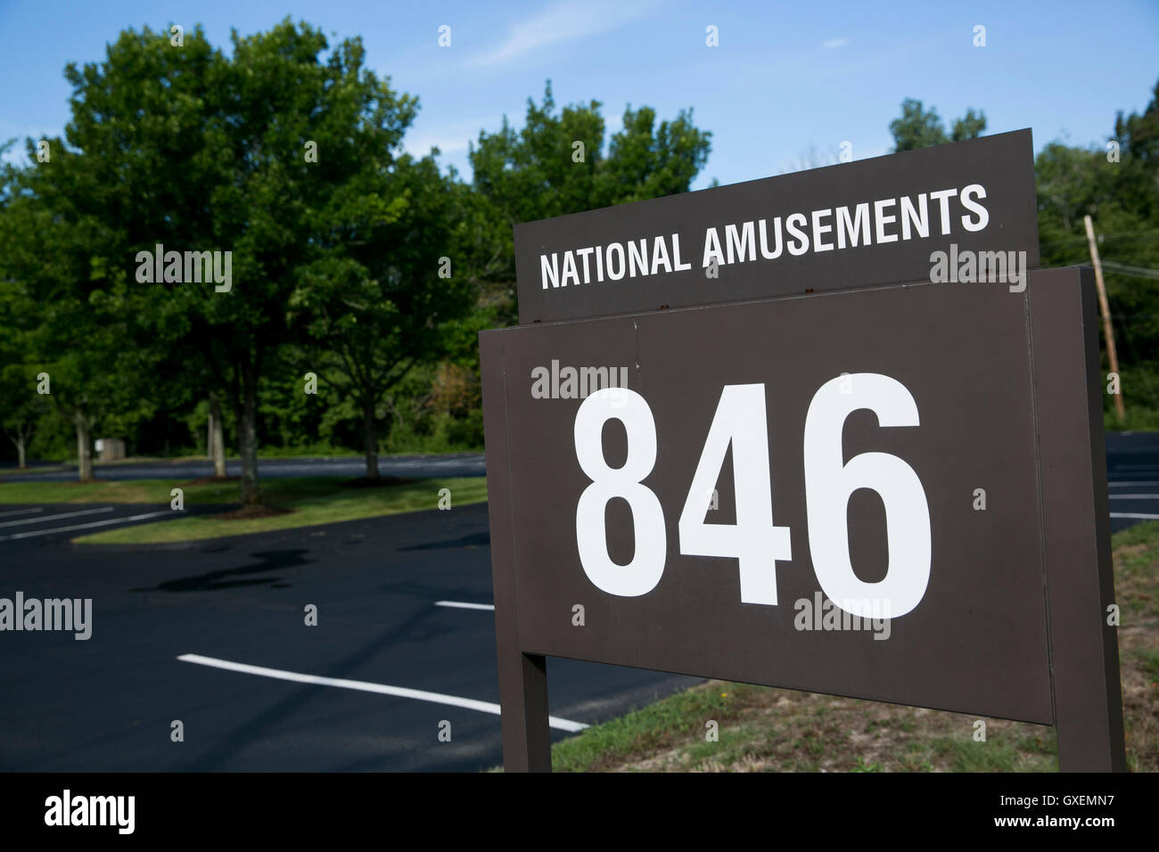 A logo sign outside of the headquarters of National Amusements, Inc., in Norwood, Massachusetts on August 14, 2016. - Stock Image