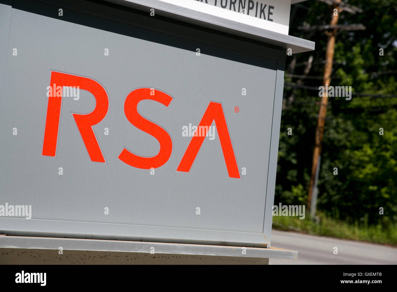A logo sign outside of a facility occupied by RSA Security LLC, in Bedford, Massachusetts on August 14, 2016. - Stock Image