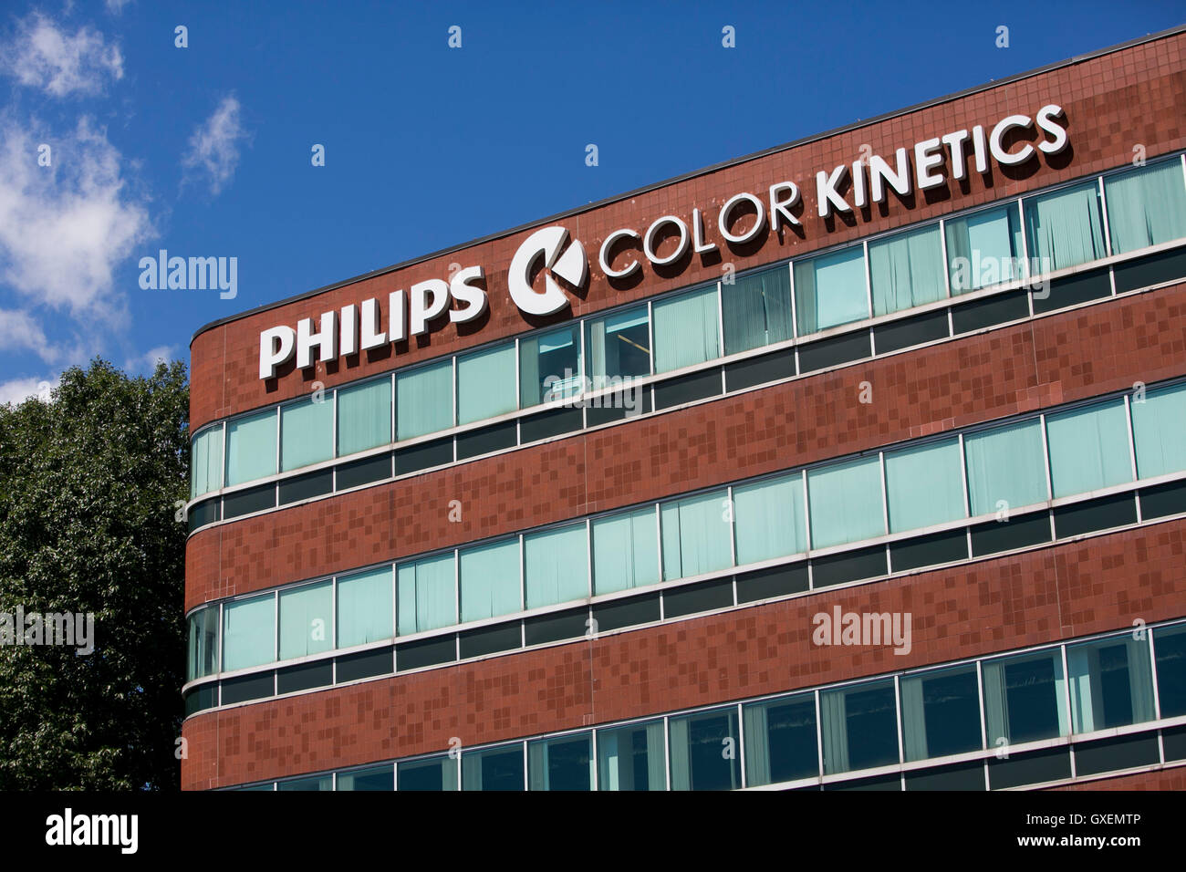 A logo sign outside of the headquarters of Philips Color Kinetics in Burlington, Massachusetts on August 14, 2016. - Stock Image