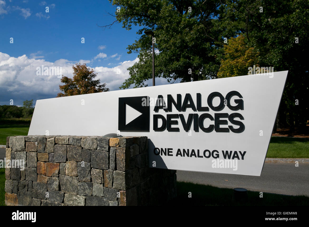 A logo sign outside of the headquarters of Analog Devices, Inc., in Norwood, Massachusetts on August 14, 2016. - Stock Image