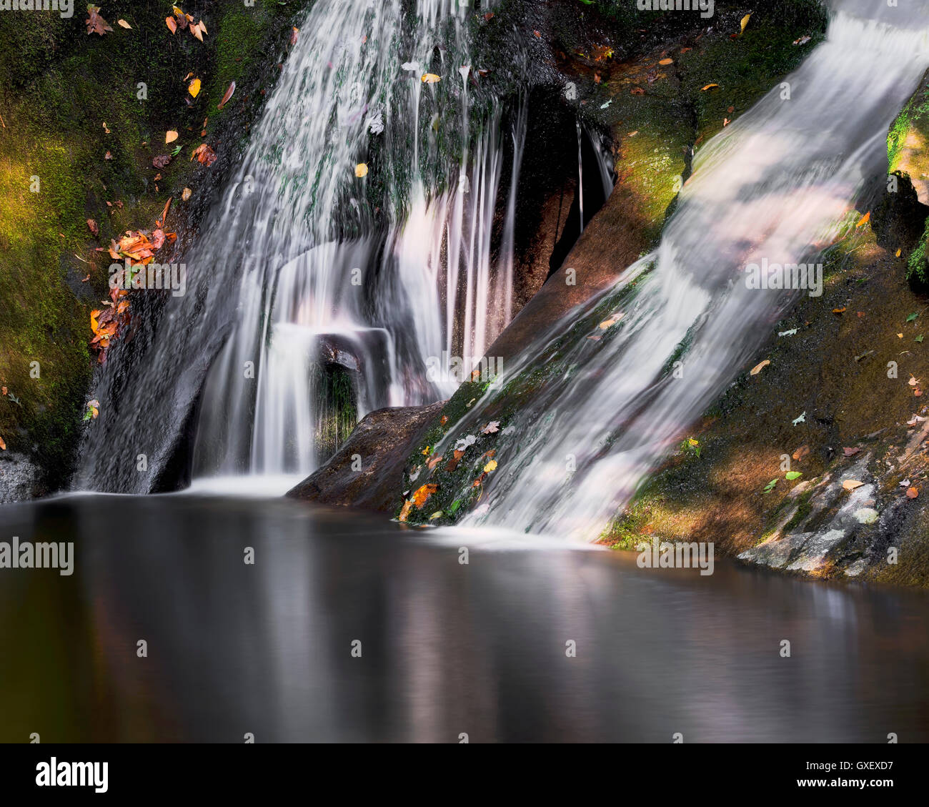 Widows Creek Falls in Stone Mountain State Park. Roaring Gap North Carolina. Scenic waterfall inside the state park. - Stock Image