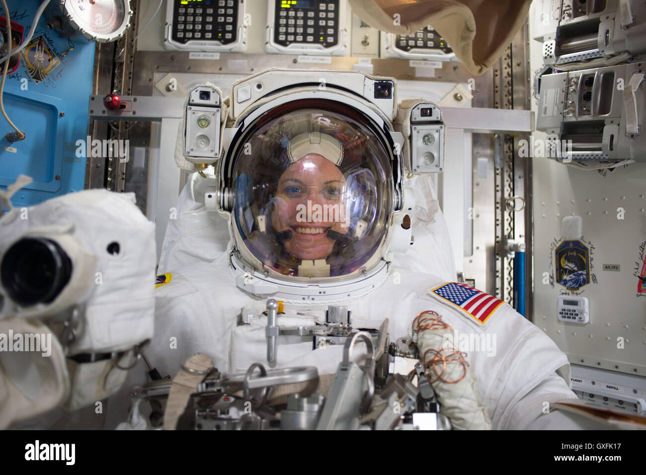 International Space Station Expedition 48 crew member NASA astronaut Flight Engineer Kate Rubins is pictured after - Stock Image