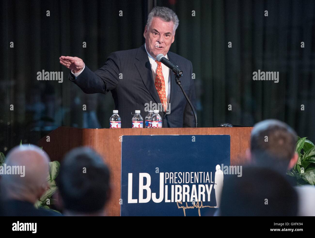 U.S. Republican Party Representative from New York Peter King speaks during a UT conversation at the LBJ Presidential - Stock Image