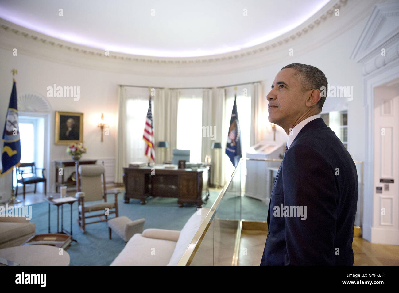 lbjs office president. U.S President Barack Obama Looks At A Replica Of The Oval Office LBJ Presidential Lbjs