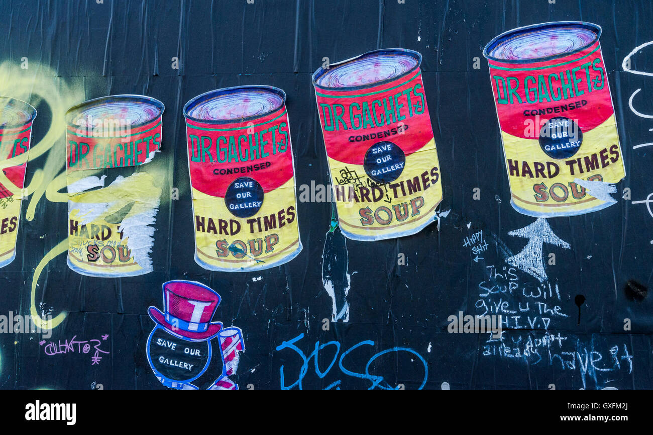 Soup Can graffiti art, Downtown EastSide, Vancouver, British Columbia, Canada, - Stock Image