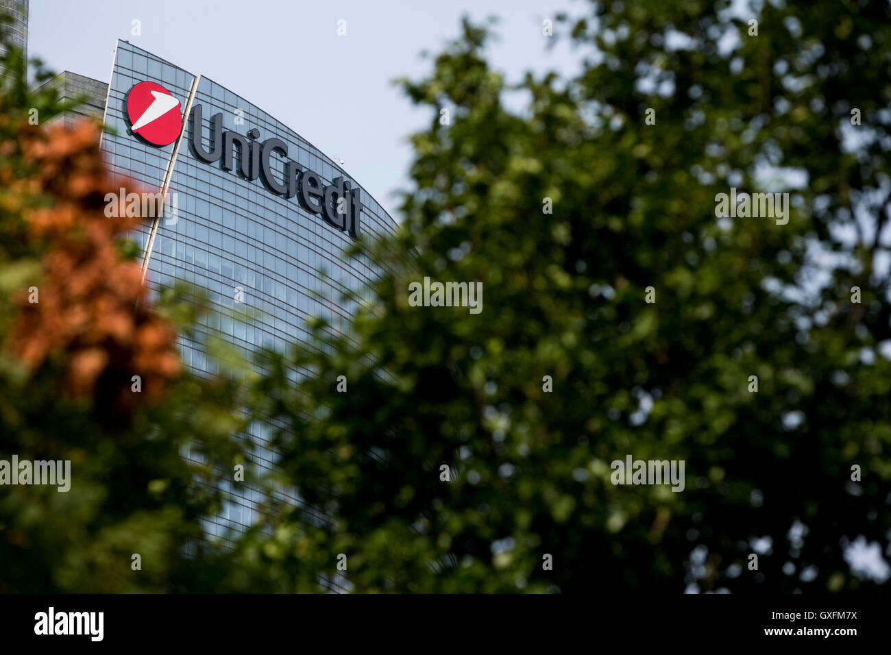 A logo sign outside of the headquarters of the UniCredit Group in Milan, Italy on September 3, 2016. - Stock Image