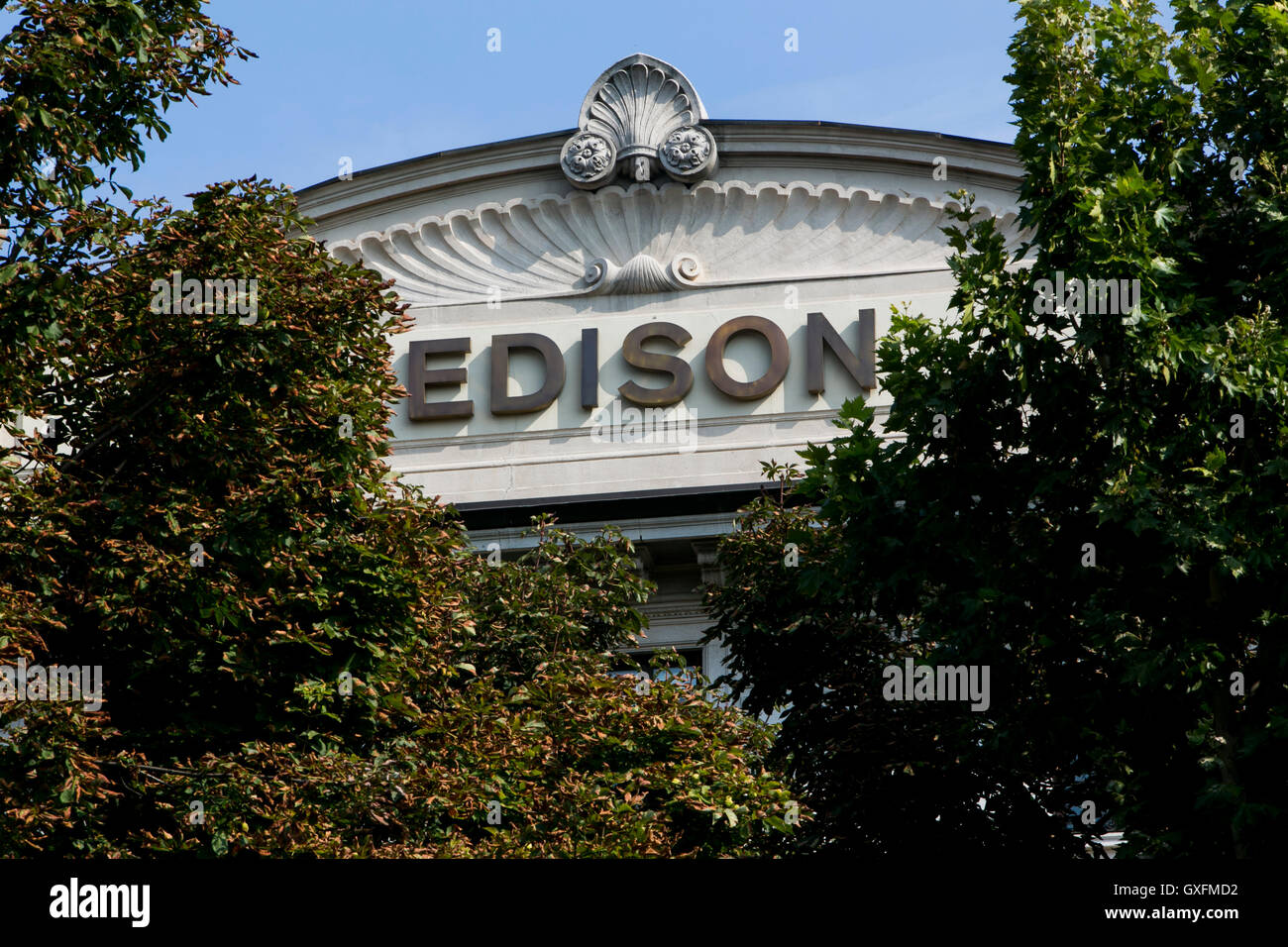 A logo sign outside of the headquarters of Edison S.p.A. in Milan, Italy on September 3, 2016. - Stock Image